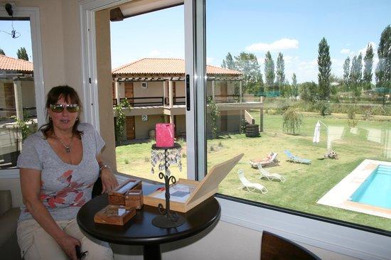 Villa Mansa Wine Hotel & Spa: En el salon de lectura, con la vista de la pileta y el parque
