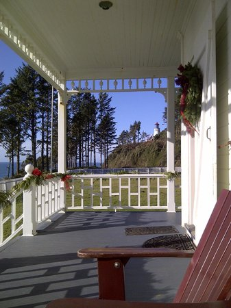 Heceta Head Lighthouse Bed and Breakfast:                   Looking from the veranda toward the lighthouse