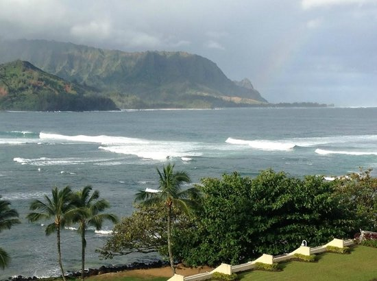 St. Regis Princeville Resort:                   View from room - rainbow included!