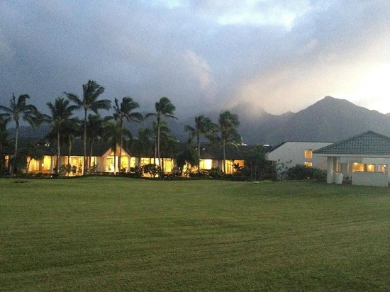St. Regis Princeville Resort:                   Front of the hotel at dusk