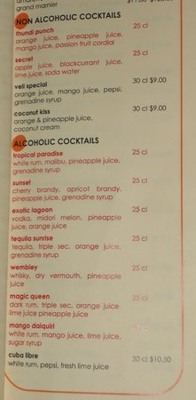Veligandu Island Resort & Spa:                   All inclusive cocktails in red