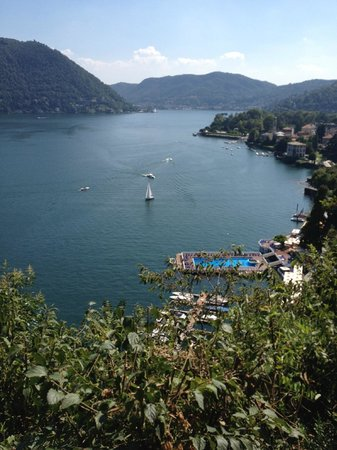 Villa d'Este:                   View of Lake Como & Pool from Ruins next to hotel