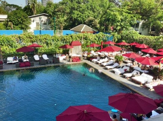 The Sukhothai Bangkok:                   View from 2nd floor room overlooking pool