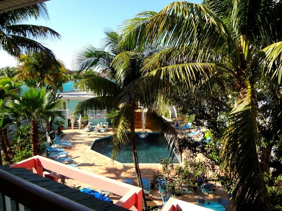 The Lighthouse Resort Inn and Suites: View from balcony by the pool w/waterfall