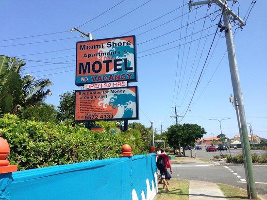 Miami Shore Motel:                   Motel sign