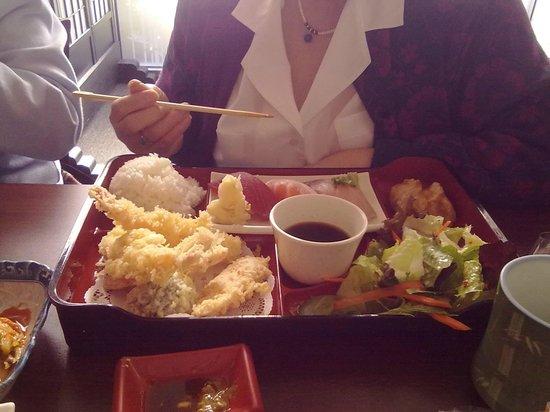 Sushi & Maki Restaurant:                   Tempura Bento with sashimi sushi