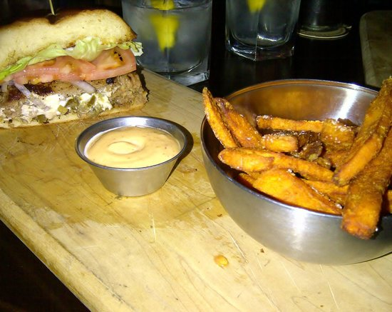 Micky's Public House: Stuffed burger with yam fries