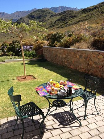 Orange Grove Farm : Private back garden with Braai (BBQ), table & chairs & an incredible view!