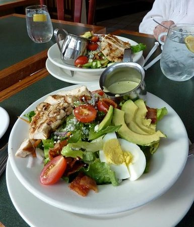 Our one order of cobb salad divided in two.