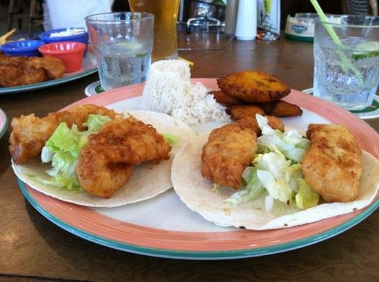 The Green House : fabulous fish tacos made with beer battered fresh grouper