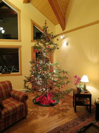 Takhini River Lodge: Christmas tree in main room
