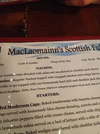 MacLaomainn's Scottish Pub: the menu!