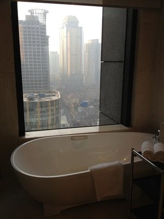 The Westin Bund Center Shanghai: bath with a view