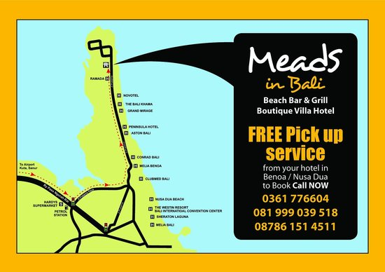 Meads Boutique Villa's Hotel: Meads Directions Map