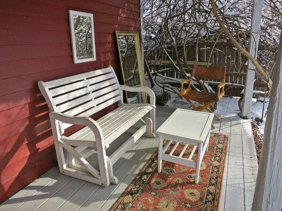 Race Brook Lodge: This porch would be wonderful in the summer but looks pretty good even in January.
