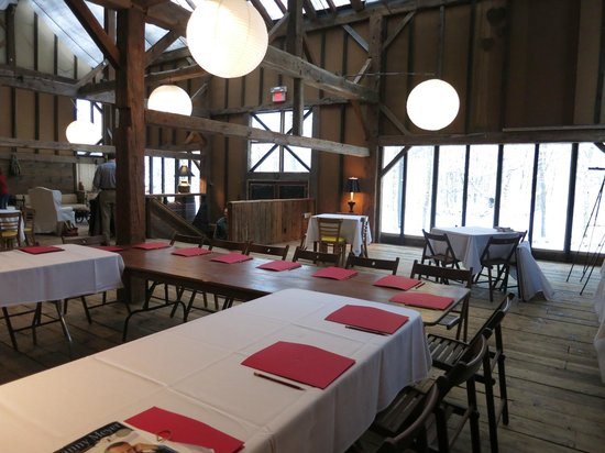 Race Brook Lodge: The event barn's interior.