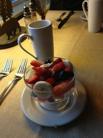 Three Pines View: fresh fruit & coffee to kick off breakfast!