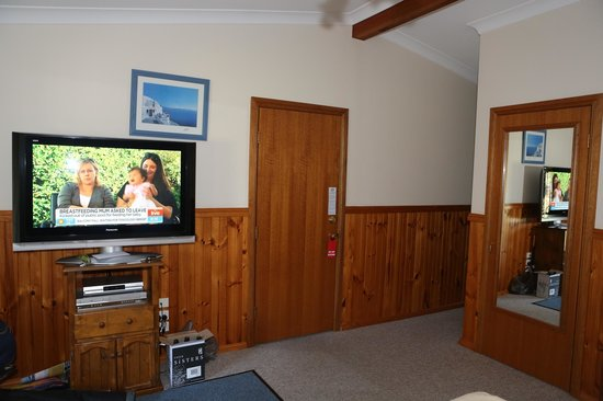 Kiama Bed & Breakfast:                   The large tv and door to common area.