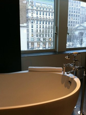 Andaz 5th Avenue:                   View from the bathroom.