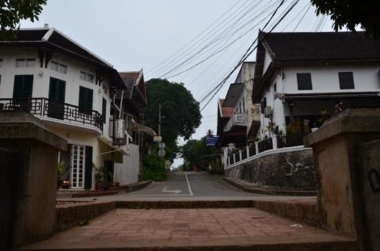 Ammata Guest House:                   An early photo taken from the Mekong banks looking upstreet, Ammata is the 3rd