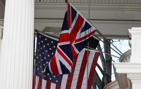 Portland's White House:                   flag flown for British groom