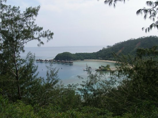 Likuliku Lagoon Resort:                   View of eastern end of bay from lookout, showing overwater bures.