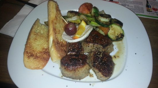 Brot & Spiele: Pork steak with grilled vagetables and Garlic bread