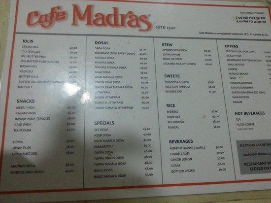 Cafe Madras:                   Menu