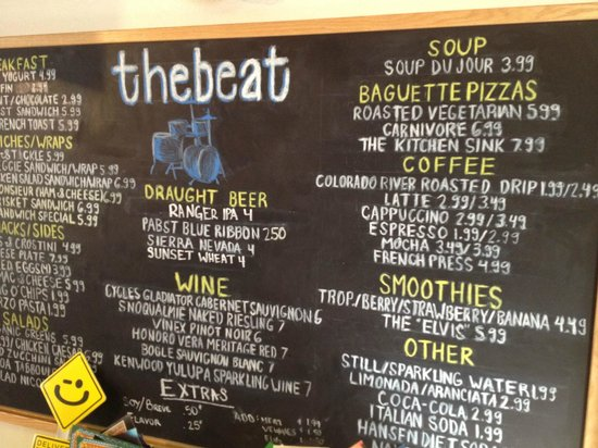 The Beat Coffeehouse : the chalkboard with menu etc