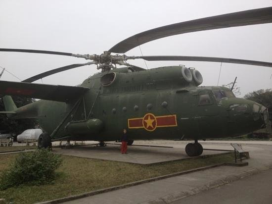 Vietnamese Air Force Museum:                   A big chopper on display out the back
