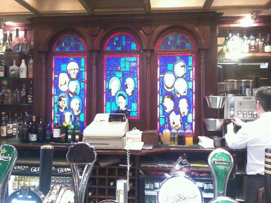 Wynn's Hotel:                   Saints and Scholars Bar - the window is a great talking point