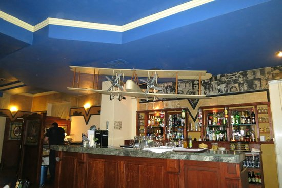 Marconi's :                   Model of Alcock & Browns Vickers Vimy over the bar!