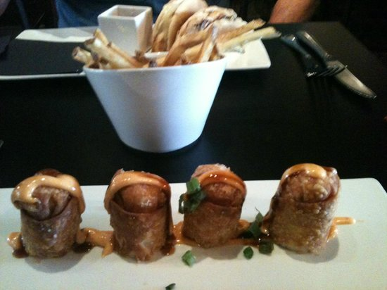 Nevermind Awesome Bar And Eatery: Volcano spring rolls and fries