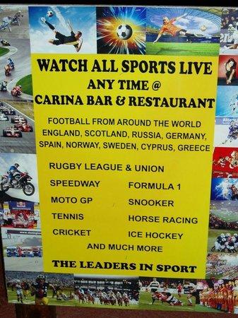 carina sports bar rest.: live all sports