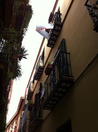 Hotel Murillo:                   view from one of the narrow passages leading to the hotel