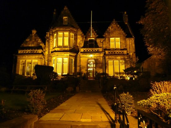 The Dunstane Hotel: The front of the Hotel lit up at night