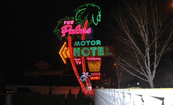 Palms Motel : Unmissable neon with blue monkey