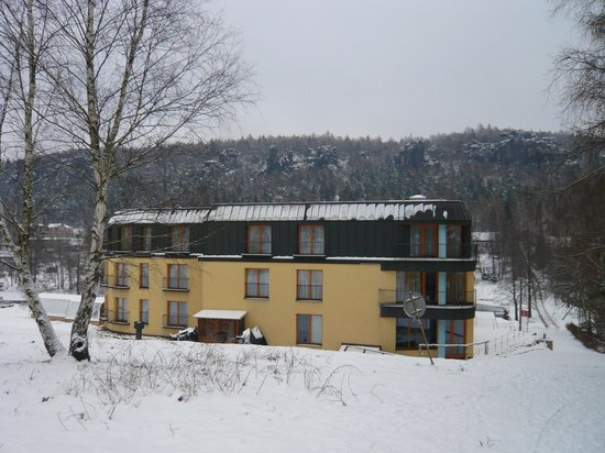 Hotel Ostrov: The hotel with the sandstone rocks in the background