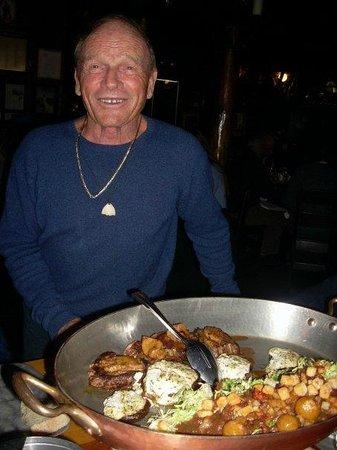 Hotel St Bernard :                   The man himself, Jean Mayer who serves dinner each night