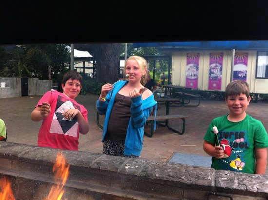 Hastings Top 10 Holiday Park:                   Toasting marshmellows