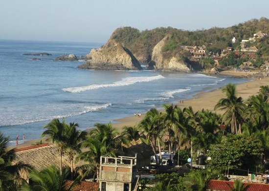 Solstice Yoga Center:                   Zipolite Beach from La Loma Linda