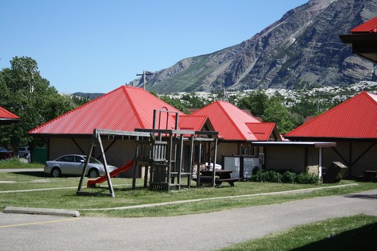 Aspen Village: playground area and guest cabins