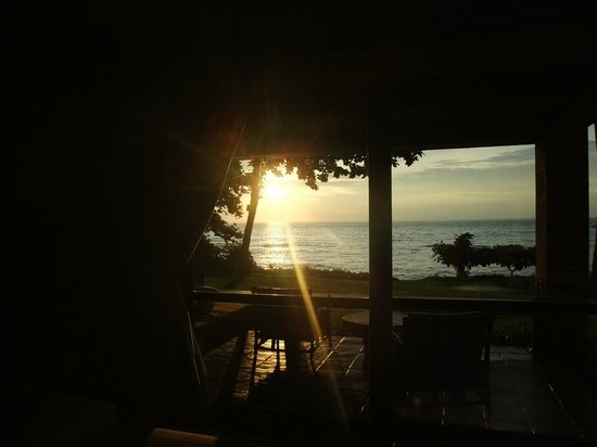 Jeeva Klui Resort : View of sunset from inside our front beach room