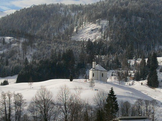 Posthotel Achenkirch:                   the little white chapel (view from room at hotel front)