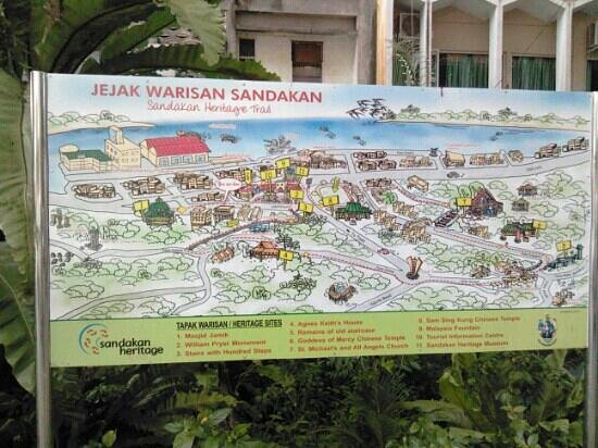 Sandakan heritage map Picture of Sandakan Heritage Trail Sandakan