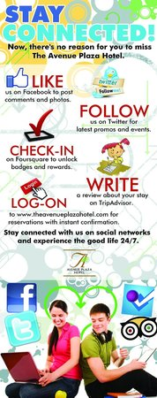 The Avenue Plaza Hotel: STAY CONNECTED with Avenue Plaza Hotel wherever you are... We'll be happy to hear from you!