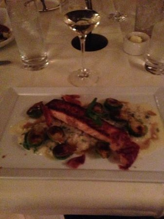 The Ivy Inn Restaurant:                   salmon with Brussels sprouts and risotto