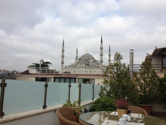 Sarı Konak:                   view of Blue Mosque from rooftop deck