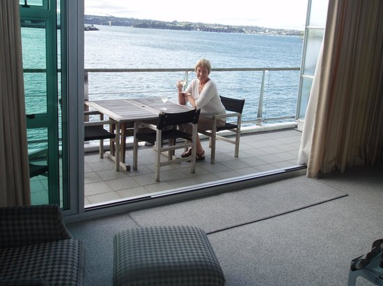 Auckland Waterfront Serviced Apartments:                   Enjoying the verandah