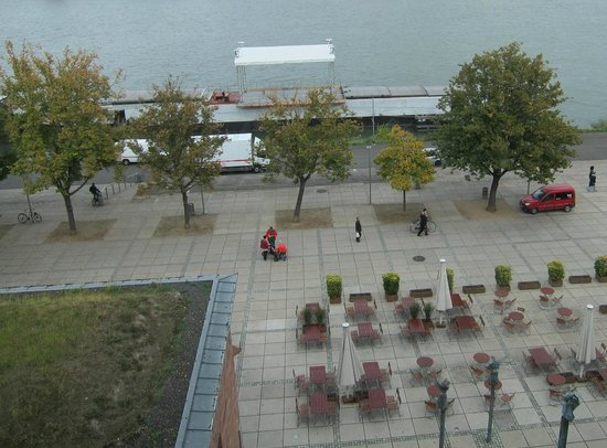 Hyatt Regency Mainz: Concert stage set up on a barge outside the hotel